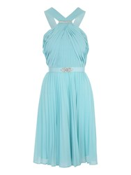 Jane Norman Pleated Halter Neck Short Dress Aqua