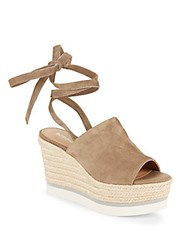 Bcbgeneration Leather Open Toe Wedge Sandals Taupe