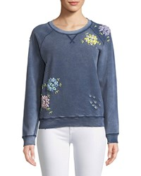 Etienne Marcel Distressed Crewneck Sweatshirt With Floral Embroidery Light Blue