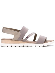 Tommy Hilfiger Slip On Strappy Flat Sandals Women Leather Polyester Polyurethane Rubber 38 Nude Neutrals