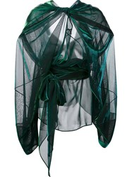 Maison Martin Margiela Sheer Draped Effect Blouse Green