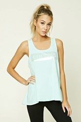 Forever 21 Active Gym Vibes Tank Top Mint Silver