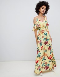 Soaked In Luxury Overlay Maxi Dress Tropical Print Multi