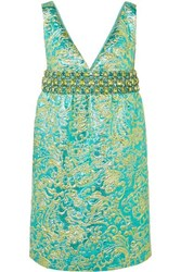 Michael Kors Collection Crystal Embellished Metallic Brocade Mini Dress Blue