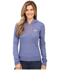 The North Face Lite Weight Pullover Hoodie Coastal Fjord Blue Heather Feather Orange Women's Sweatshirt