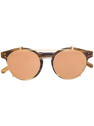 Linda Farrow Round Frame Sunglasses Brown