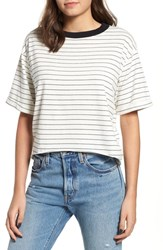 Project Social T Freddy Crop Ringer Tee Ivory Black