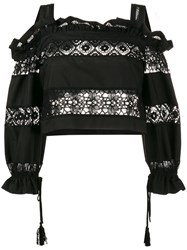 Alberta Ferretti Lace Embroidery Off Shoulder Top Black