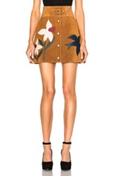 Red Valentino Suede Patch Mini Skirt In Brown