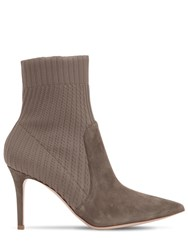 Gianvito Rossi 85Mm Rib Knit And Suede Ankle Boots Taupe