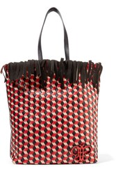 Emilio Pucci Fringed Woven Leather Tote Red
