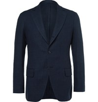 Massimo Piombo Mp Blue Linen Cotton And Silk Blend Hopsack Blazer Navy