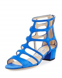 Jimmy Choo Ren Suede Caged 35Mm Sandal Blue