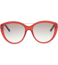 Roland Mouret Jones Tortoiseshell Cateye Aviator Sunglasses Trans Red
