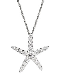 Arabella 14K White Gold Necklace Swarovski Zirconia Starfish Pendant 1 3 8 Ct. T.W.