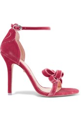 Isa Tapia Shelby Bow Embellished Velvet Sandals Pink