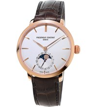 Frederique Constant Fc 703V3s4 Classics Manufacture Slimline Moonphase Rose Gold Plated And Alligator Leather Watch