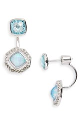 Judith Jack Paradise Drop Back Earrings Opal Black Diamond Marcasite
