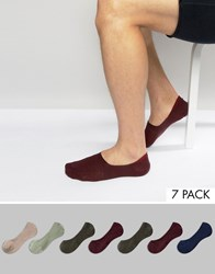 Asos Invisible Socks 7 Pack Khaki Blue Multi