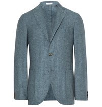 Boglioli Blue K Jacket Slim Fit Slub Silk And Linen Blend Blazer Light Blue