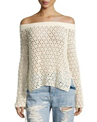 Jonathan Simkhai Cage Pearly Beaded Off The Shoulder Top Beige