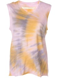 Raquel Allegra Tie Dye Muscle Tank Top Purple