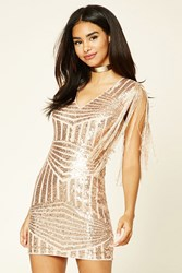 Forever 21 Sequined Bodycon Dress Rose Gold