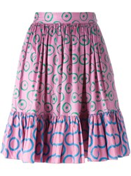 Yves Saint Laurent Vintage Circle Print Pleated Skirt Pink And Purple