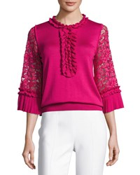 Andrew Gn Ruffle Silk Knit Top With Lace Sleeves Fuchsia