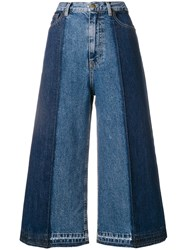 Mcq By Alexander Mcqueen Wide Leg Cropped Jeans Blue