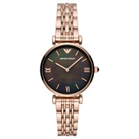 Emporio Armani Ar11145 'S T Bar Bracelet Strap Watch Rose Gold Black