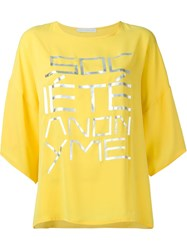 Socia Ta Anonyme Oversized Front Print T Shirt Yellow And Orange