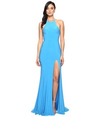 Faviana Jersey Halter W Back Cut Out 7976 Sea Blue Women's Dress