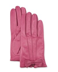 Portolano Napa Leather Gloves W Perforated Bow Bouganville
