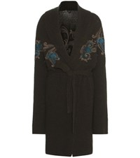 Etro Wool Blend Printed Knitted Cardigan Green
