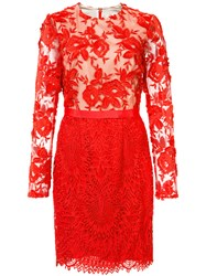 Monique Lhuillier Ml Lace Bodycon Dress Women Polyester Spandex Elastane 10 Red