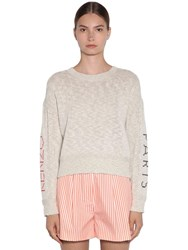 Kenzo Knit Sweater W Embroidered Sleeves Ivory