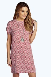 Boohoo Printed Woven Cap Sleeve Shift Dress Coral