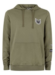 Topman Green Khaki Military Badge Classic Fit Hoodie