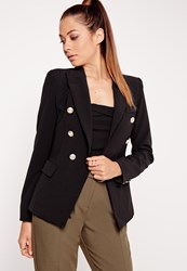 Missguided Military Style Blazer Black Black