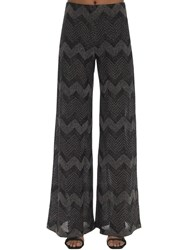 M Missoni Zig Zag Lurex Knit Flared Pants Black