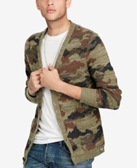 Denim And Supply Ralph Lauren Men's Camo Cotton V Neck Cardigan Green