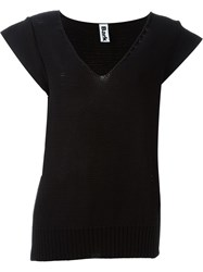 Bark V Neck Top Black