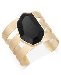 Inc International Concepts Gold Tone Black Stone Cuff Bracelet Only At Macy's