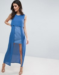 Jovonna Icing On The Cake Two Layer Maxi Dress Blue