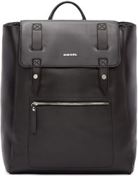 Diesel Black Leather Flap Beat Backpack