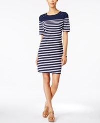 Karen Scott Striped Sheath Dress Only At Macy's Intrepid Blue
