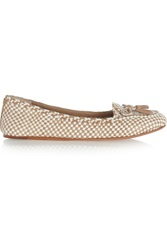 Tory Burch Russell Two Tone Woven Leather Loafers