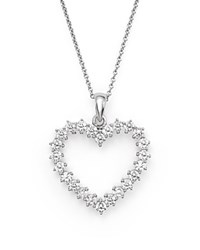 Bloomingdale's Diamond Heart Pendant Necklace In 14K White Gold .50 Ct. T.W.