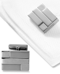 Kenneth Cole New York Cufflinks Polished And Brushed Hematite Layered Rectangle Silver